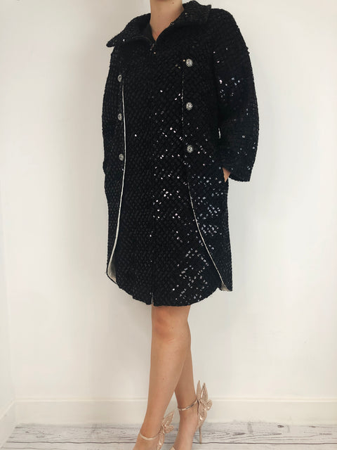 Chanel Black Sequin Knitted Jacket Size 10