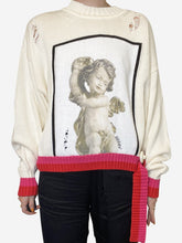 Load image into Gallery viewer, Distressed cherub sweater with white trim - size M