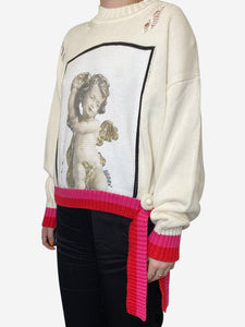 Golden Goose Distressed cherub sweater with white trim - size M