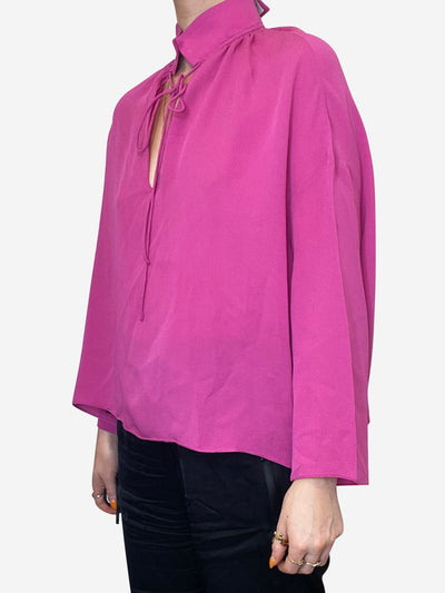 Pink silk high neck blouse - size XS
