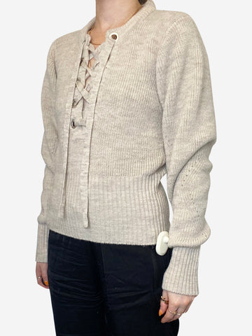 Charley beige lace up wool blend sweater - size XS
