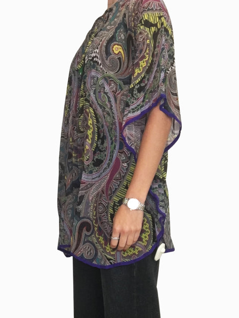 Purple and multicolour silk kaftan - size M