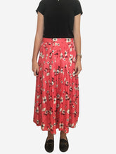 Load image into Gallery viewer, Coral floral print pleated midi skirt with button detailing - size 10