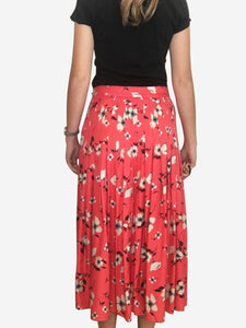Coral floral print pleated midi skirt with button detailing - size 10