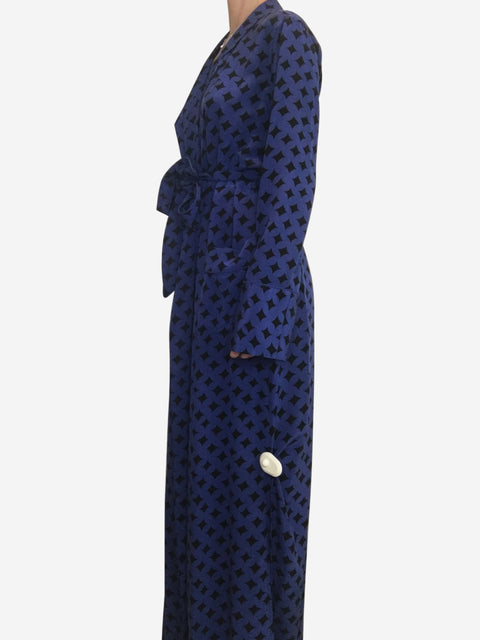 Blue and black diamond print silk wrap gown - size S