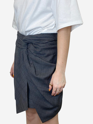 Grey short dark checked wrap skirt - size FR 40