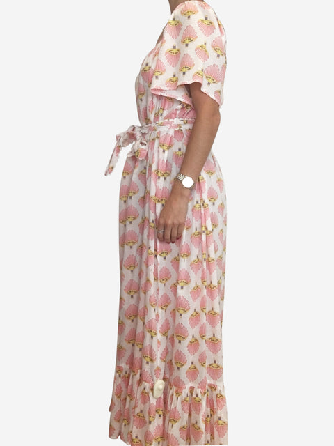 White and pink belted cotton maxi dress - size M