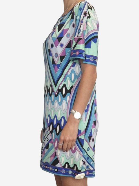 Blue green and purple print silk shift mini dress - size 8