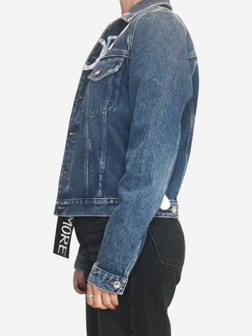 "Blue ""is dead"" ""not cool anymore"" denim jacket - size S"