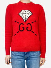 Load image into Gallery viewer, Red diamond G logo knitted jumper - size XS