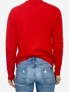 Red diamond G logo knitted jumper - size XS