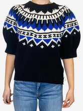 Load image into Gallery viewer, Blue and black fair isle puff sleeve sweater - size L