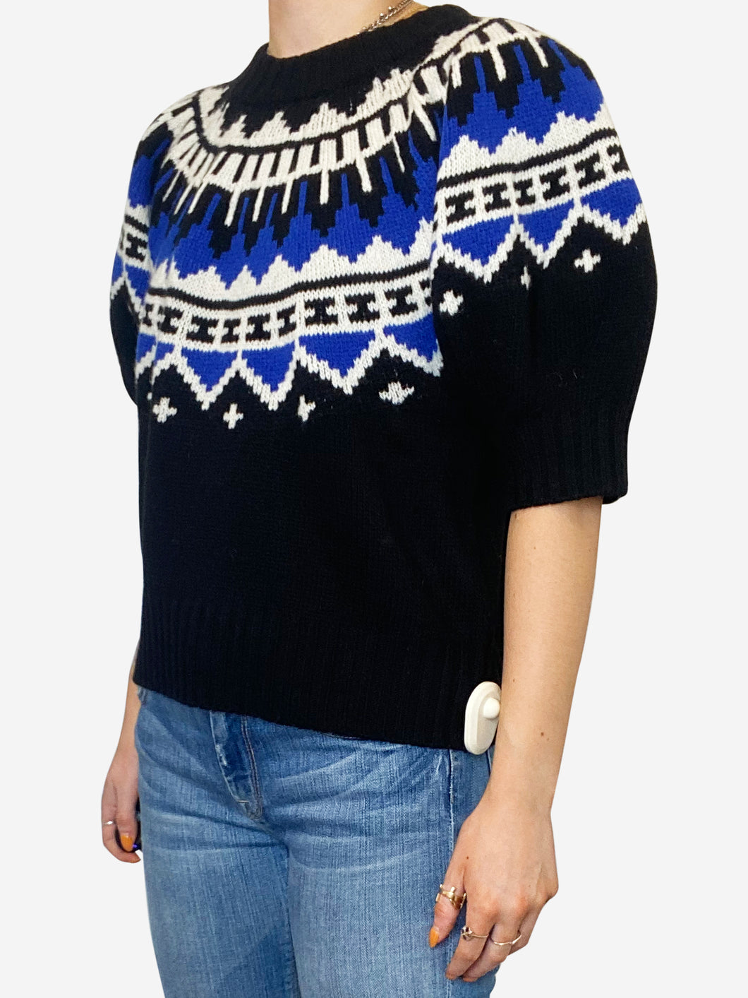 Blue and black fair isle puff sleeve sweater - size L