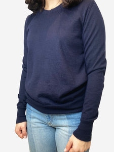 Navy crew neck cashmere sweater- size S