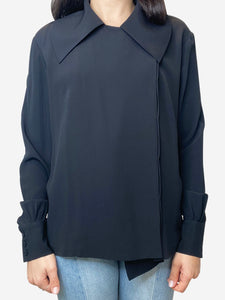 Emilia Wickstead Black asymmetric seamed button up blouse- size UK 12