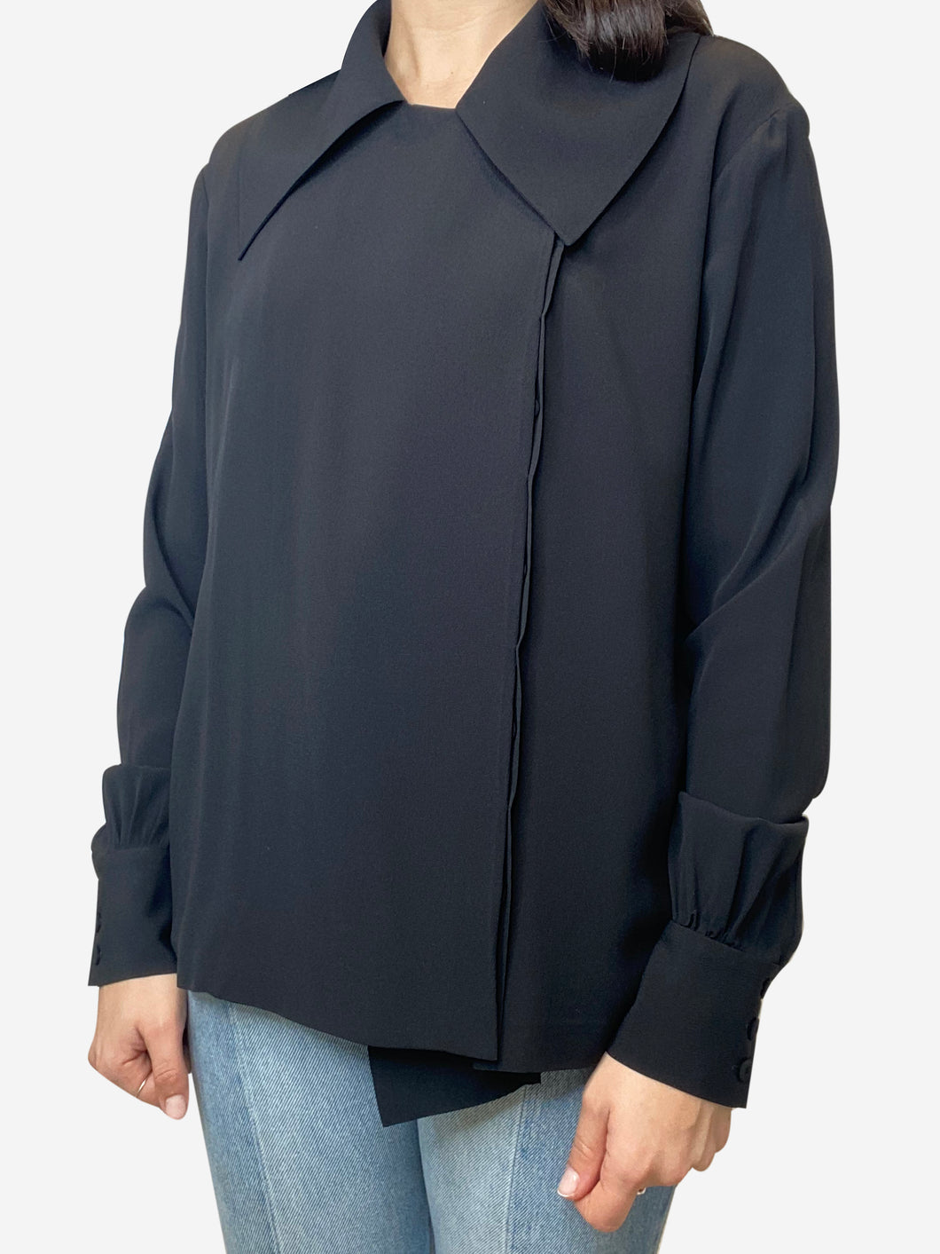 Black asymmetric seamed button up blouse- size UK 12