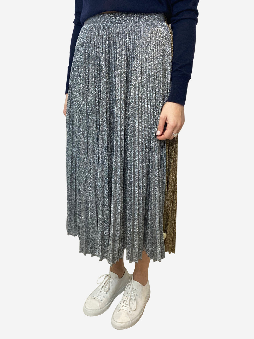 Gold and silver lurex pleated midi skirt- size UK 10