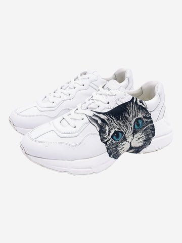 White Rhyton trainers with cat logo side - size EU 38.5