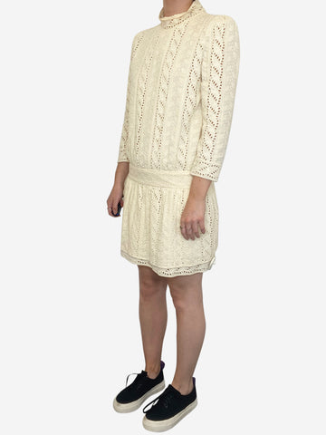 Yellow broderie anglaise long sleeve mini dress - size XS