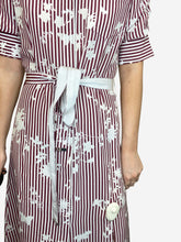 Load image into Gallery viewer, Kieran white and burgundy point collar striped silk shirt midi dress - size US 6