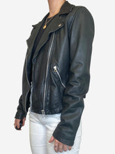 Load image into Gallery viewer, Black leather biker jacket with rose motif - size 10