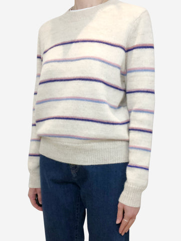 Cream, pink and blue striped sweater - size FR 42