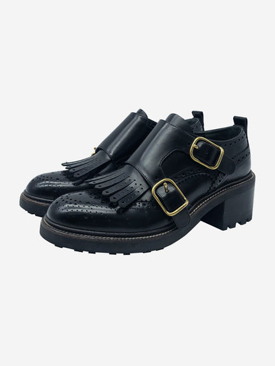 Franne black leather double buckle loafers - size EU 37
