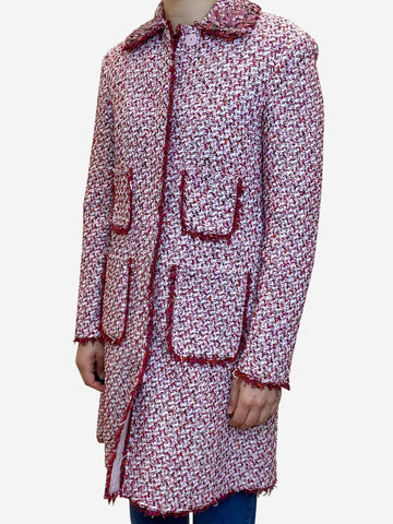 Red and pink beaded boucle coat - size UK 6
