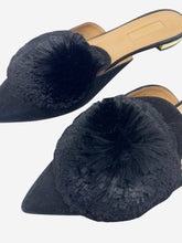 Load image into Gallery viewer, Black Powder Puff pompom pointed toe suede mules - size EU 38