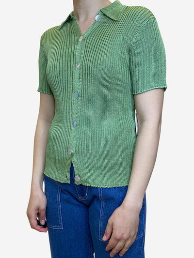 Green knit collared shirt - size L