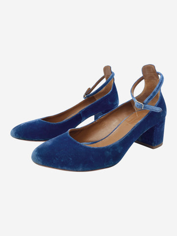 Blue Low heeled velvet shoes  - size 4.5