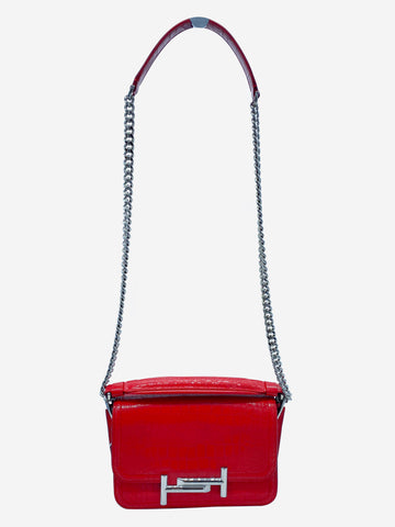Red croc double T crossbody bag