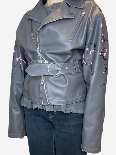 Grey oversized leather jacket with paint splatter pattern- size UK 8