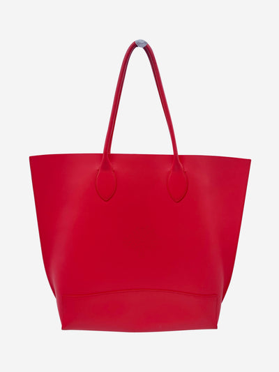 Coral red large tote bag with logo