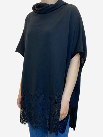 Black tunic top with lace hem - size M