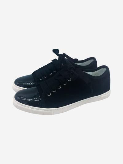 Black suede trainers with patent toe cap - size EU 37