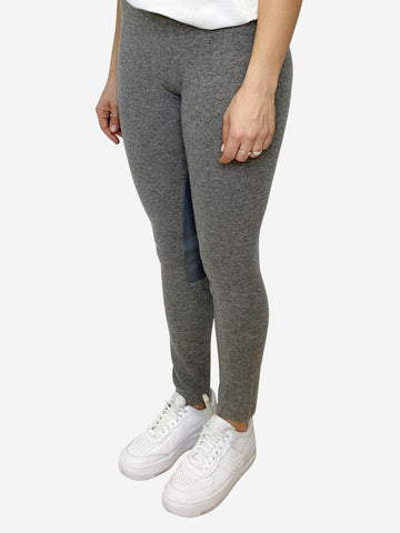 Grey cashmere joggers with lamb leather jodhpur detail  - size 10