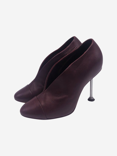 Burgundy round toe pump with metal pin heel - size EU 37