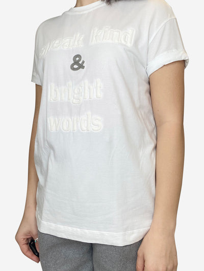 White White tshirt speak kind and write words  - size M