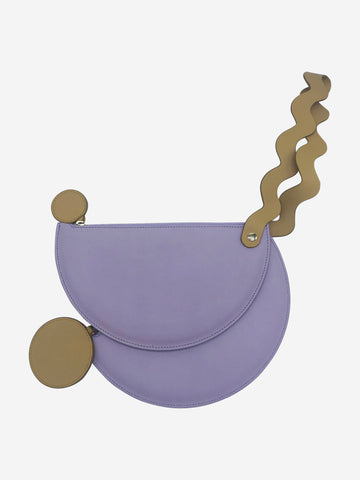 Lilac with yellow handle clutch bag