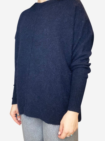 Navy Alpaca wool blend crew neck sweater- size UK 6
