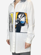 Load image into Gallery viewer, White face print tunic shirt with check collar- size UK 10