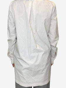 White face print tunic shirt with check collar- size UK 10