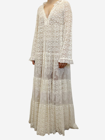 Cream lace maxi dress - size UK 8