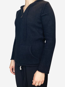 Zadig & Voltaire Black zip though hooded cashmere cadigan - size M