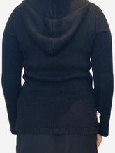 Load image into Gallery viewer, Black zip though hooded cashmere cadigan - size M
