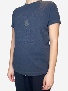 Charcoal graphic t-shirt with quilted text- size M
