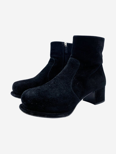Black suede platform chunky ankle boots - size EU 38.5