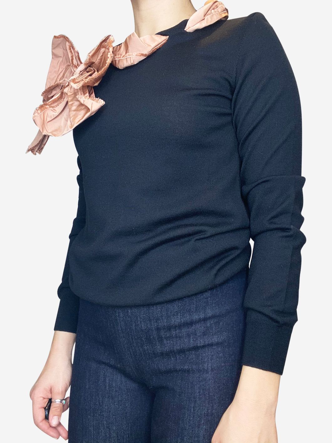 Black long sleeve sweater with frayed ribbon bow neckline- size M