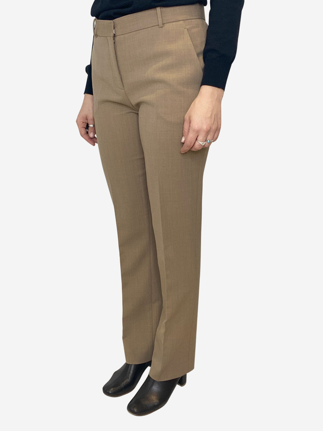Beige tailored trousers- size UK 10